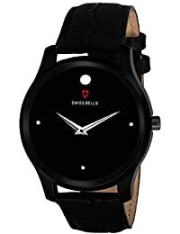 Swiss Bells Parker Analogue Display Studded Black Dial Black Leather Strap Men's Watch - TA-878