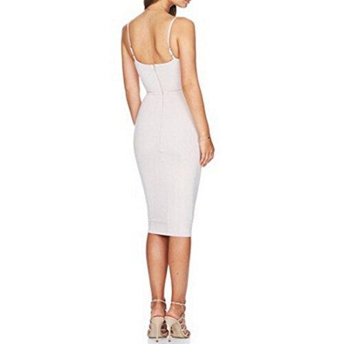 QIYUN.Z Les Femmes Licol Cou Tortiller Sexy Lacets Bodycon Robes Club Sans Manches Parti Blanc