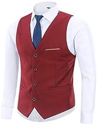 Yingqible Homme Gilet Costume Veste sans Manches Col en V Mode Vintage Côtelé Classique Gilets Mariage Business Veste