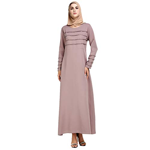 YUAN DamenkleiderMuslim Summer Print Sicke Casual Lady Style Stickerei Elegantes Swing Dress