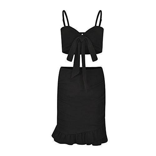 XUHONGTAO Schlauchoberseite Unterhemd hohe Taille gekräuselte Tasche angesagtes Feiertagsrock-Set schwarz XL Heften Tube