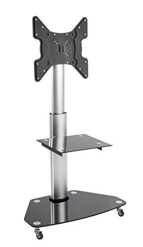 LCD LED TV STÄNDER GLAS STANDFUSS Schwenkbar Drehbar mit Rollen Höhenverstellbar Fernsehstand Stand Flachbildschirm Möbel Rack VESA 400x400 Universal inkl. DVD Receiver Regal Ablage HALTERUNGSPROFI FS02G Vesa-dvd