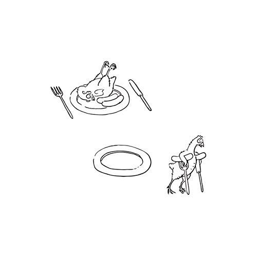 Tapete Grenze Einfügen (Wandaufkleber Wandtattoo Niedlichen Cartoon Huhn Messer Und Gabel Wandaufkleber Baby Kind Abnehmbare Selbstklebende Tapete Grenze Küche Raumdekoration 57X49 Cm)