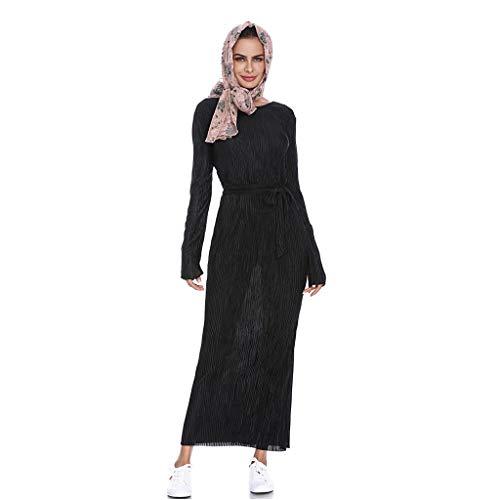 Clearance!Summer Robe longue sexy longue plissée à rayures pour femme musulmane