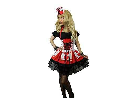 KarnevalsTeufel Damenkostüm Herz Königin Herzdame Alice im Wunderland Spielkartenkostüm 2.Wahl (36)