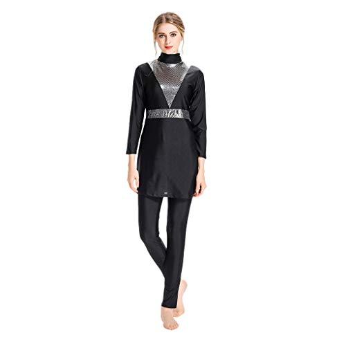 mischen Badeanzug Mit Kappe Volltonfarbe Beachwear Bademode Muslim Islamischen Für Hijab Badebekleidung Full Deckung Schwimmen(Weiß,XL) ()