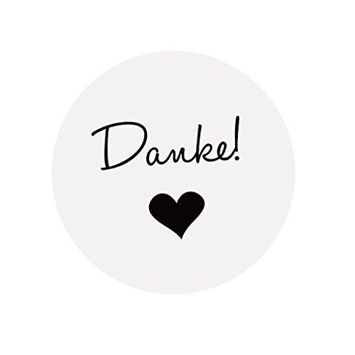 eKunSTreet ® 48 Stück Weiß Danke Aufkleber Sticker - 4 cm selbstklebende Papieraufkleber Etiketten für Gastgeschenk,Vintage Hochzeit,Flaschen,Tüten, Briefen, Danksagungen