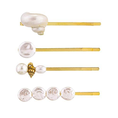 Lifet 4Pcs Shell Haarspangen Haar Pins Muschel Gold Haarnadeln Hochzeit Perle Haarnadel Kopfschmuck Haarschmuck Für Mädchen Und Damen -