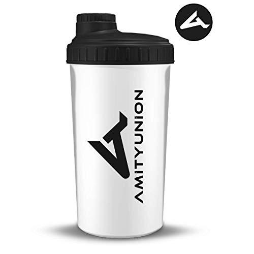 """Eiweiß Shaker \""""Viisi\"""" 900 ml ORIGINAL Fitness Mixer - Protein Shaker auslaufsicher - BPA frei, Mit Skala für cremige Whey Proteinpulver Shakes, Protein Isolat und BCAA Konzentrate in Weiß Schwarz"""