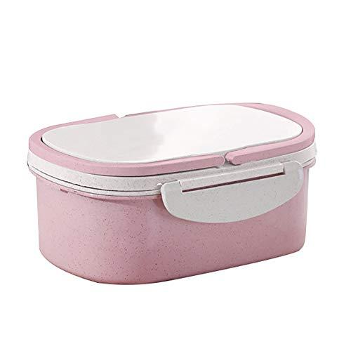 0Miaxudh Doppelschichtige Separate Bento-Box, Weizenstroh umweltfreundliche auslaufsichere Aufbewahrungsbehälter für Lebensmittel mit Griff - Rosa (Rosa Lego-lunch-box)