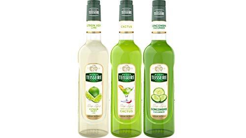Teisseire Sirup Set Erfrischend: Sirup Limette + Kactus + Gurke - 3 x 700ml