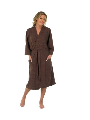 Canyon Rose Waffle Weave Unisex Spa Robe, XL, Brown by