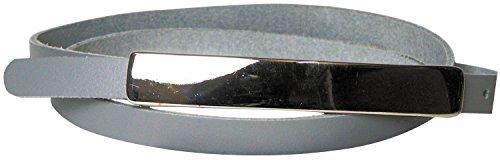 Fronhofer schmaler Damengürtel 1,2 cm schmal, mit 12 cm langer silberfarbiger Gürtelschnalle Gürtel Damen nickelfrei 17574, Größe:Bundweite 95 cm, Farbe:Grau