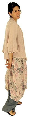 Mein Design Lagenlook de Mallorca Damen Kleid HJ700 Tunika Victorian Rose Used Look Leinen Gr. 46, 48, 50, 52 tragbar Rosa