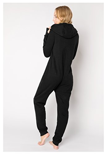 Eight2Nine Damen Sweat Overall | Kuscheliger Jumpsuit | Einteiler aus bequemen Sweat-Material einfarbig Black L/XL - 5