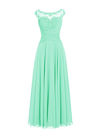 Dresstells Damen Lange Chiffon Ballkleider Brautjungfernkleider Abendkleider Mintgrün Größe 38
