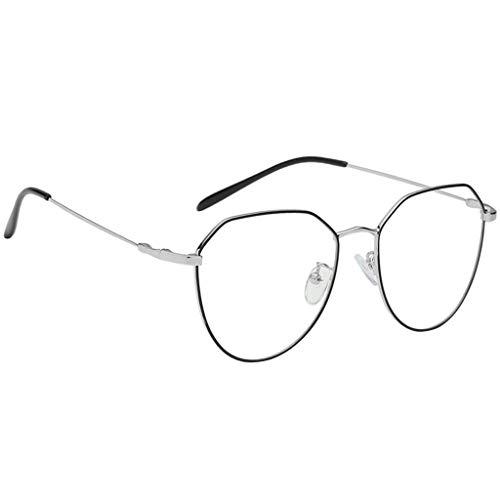 Baoblaze vintage Metallrahmen Fensterglas Brille Ohne Stärke Durchsichtig Nerdbrille Sonnenbrille...