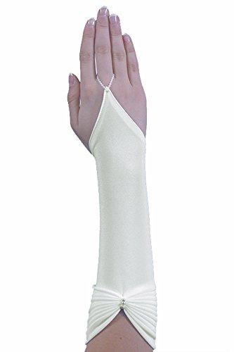 Brauthandschuhe fingerlose Handschuhe Armstulpen Hochzeit Strass, A25 30cm, ivory