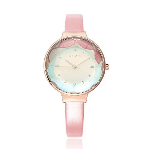 CWYPB Weibliche Uhren PU-Gurt Quarz-Zifferblatt Farb Spiegel Rund Wasserdicht in Voller Länge: 200Mm,Pink (Spiegel Für Mädchen Voller In Länge,)