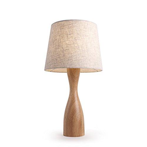 YONGJUN Massivholz Tischlampe: Traditionelle Elegante Log Base, Leinen Shades, Neutrale Töne Und Weiche Schlafzimmer Nachttischlampen, Wohnzimmer ( Farbe : Dimm-Schalter ) (Base Log)