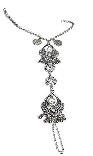 Gurjai Black Oxidised Silver Brass Ring Bracelet for Women