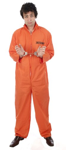 Costume de prisonnier - menottes incluses - orange