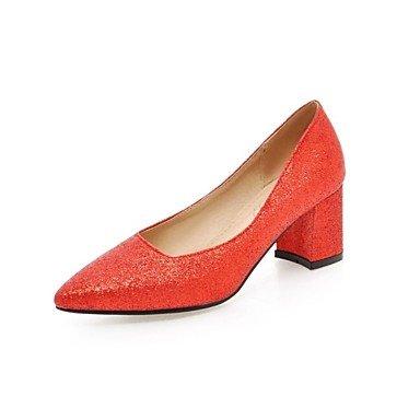 Sanmulyh Womens Chaussures Glitter Similicuir Printemps Eté Nouveauté Talons Chunky Perlé Toe Sequin Pour Mariage Party & Amp; Soirée Rouge Noir Argent Rouge