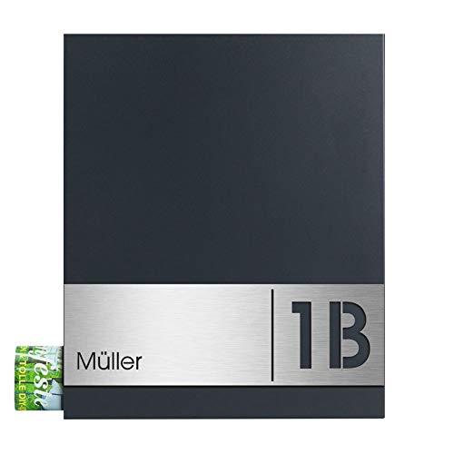 MOCAVI Box 111 Design-Briefkasten mit Gravur Namensschild V4A-Edelstahl/anthrazit ral 7016 Zeitungsfach modern groß inkl. Gravur