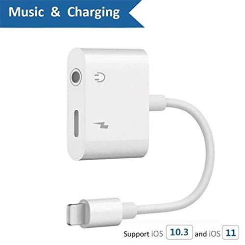 Lotuyye Headphones Jack Adaptor to 3.5mm Earphones Cables Splitter for Phone 8/8 Phone X/ 10 Plus 7/7 Plus Pod Pad Touch , AUX Hi-Fi Audio Converter Car Charger Connector Accessories Splitter Lighting Adaptor Metal Audio Jack Headphone Cable Earbud Adaptor Support iOS 11.4 or 10.3 Later (white)