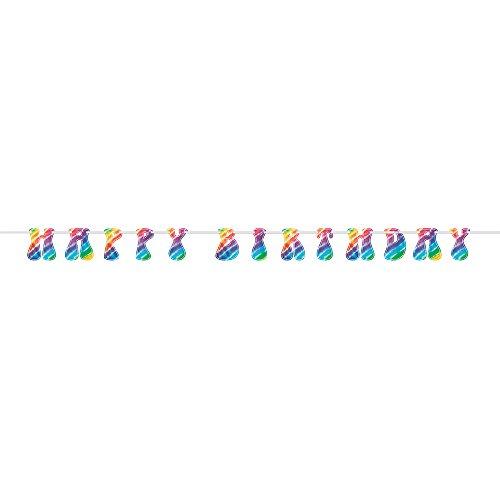 9ft Rainbow Tie Dye Banner Happy Birthday ()