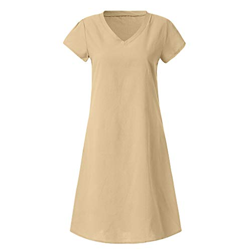 Leinenkleid Vestido T-Shirt Baumwolle LäSsig Plus GrößE Leinenkleid(Khaki,Groß) ()