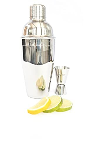 alcochill 2pc Barkeeper Martini Shaker Set Inc. Cocktail Mixer und Jigger Shot Messung Martini Bar (One Way Kit)