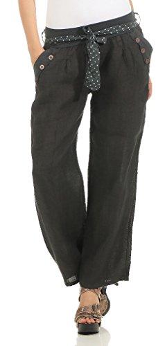 Leinenhose lockere Freizeithose Lange 100% Leinen Hose Uni Elegante Stoffhose Haremshose Graphit L ()