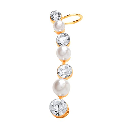 Front Row Gold Colour Crystal and Faux Pearl Single Ear Climber