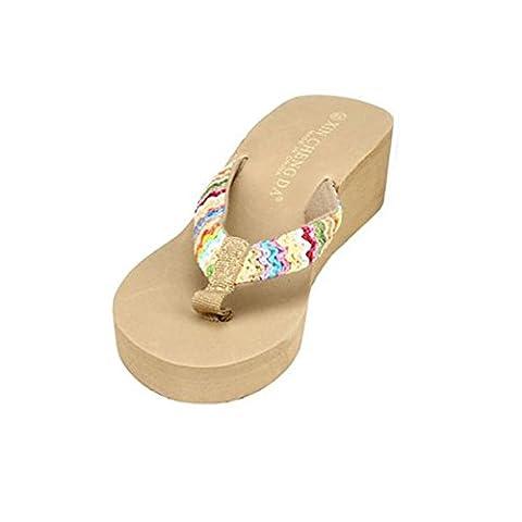Bluestercool Summer Platform Sandales Plage Flat Wedge Patch Flip Flops femmes Pantoufles (Kaki, 39)