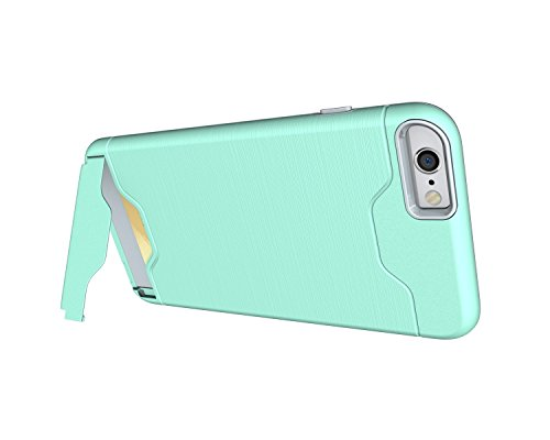 EKINHUI Case Cover Für Apple IPhone 6 & 6s Plus Stoßfänger, gebürstet Metall Finish Shockproof Schock Absorbtion Schutzhülle Premium Soft Fexible TPU Silikon Abdeckung mit Halter & Card Slot ( Color : Green