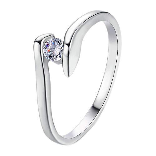 Purmy Damen Ring Weißes Gold überzogen Weiß Cubic Zirconia Simple Kurve Design Clear Zirconia Größe 60 (19.1)