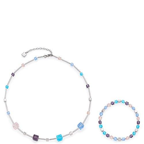 Leonardo Jewels Damen Schmuckset Halskette + Armband Cubetto multi Edelstahl Glas mehrfarbig   016290