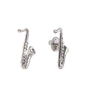 Leslii Pin Anstecker Glitzer Saxophon Silber Metalllegierung Strass Größe: 3,1cm 270114676