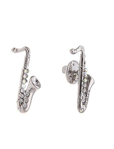 Leslii Pin Anstecker Glitzer Saxophon Brosche Musik-Verein Damen Kinder Anstecknadel Modeschmuck mit Strass Größe: 3,1cm Silber 270114676
