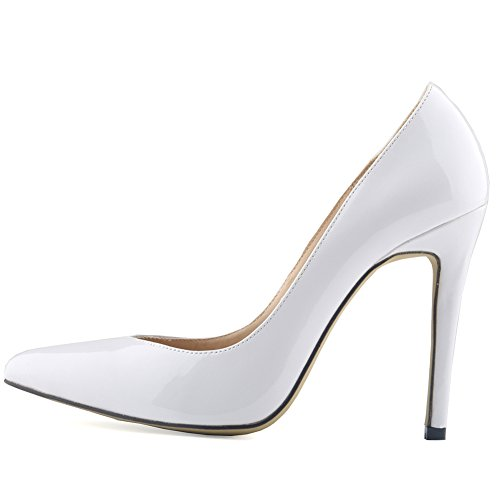 Aisun Damen Schick Geschlossen Low Top High Heels Spitz Zehen Stiletto Pumps Weiß
