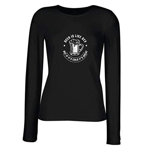 lepni.me Weibliche Langen Ärmeln T-Shirt Bier ist wie Sex, Aber wenn es kalt ist, ist es toll, Humorvolles Geschenk (X-Large Schwarz Mehrfarben)