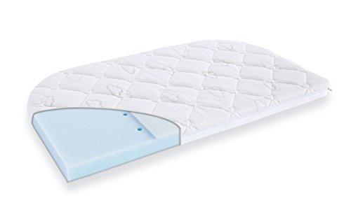 Träumeland Matratze Brise Exclusiv | Babymatratze aus punktelastischer Kaltschaumkern für Beistellbett abgerundet | Kindermatratze mit vertikalen Belüftungskanälen und Nässeschutz, Größe:50 x 88