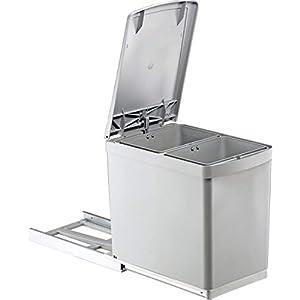 Wesco Einbauabfallsammler 30DT Teilauszug grau integrierter Abfalleimer automatischem Deckelheber 2Fächer Kapazität 15L grau