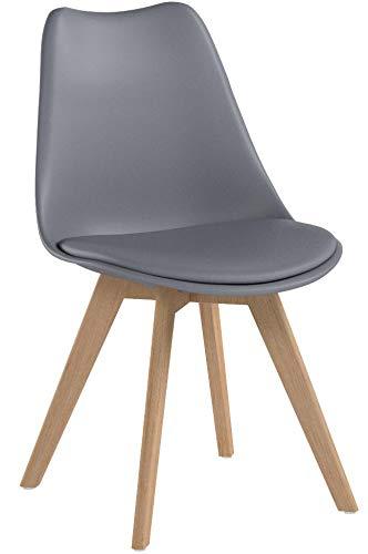 Naturelifestore Pack de 4 sillas de comedor / oficina con madera de haya Piernas Para Comedor / Sala de estar...