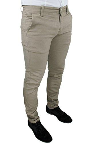 Pantaloni uomo c. battistini jeans beige sartoriale slim fit aderente invernale casual (46)