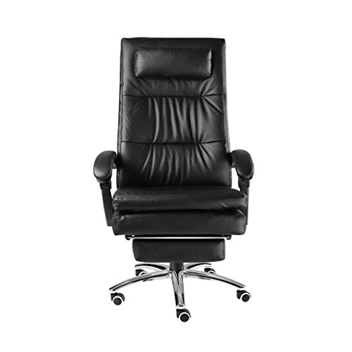 Computer Stuhl Leder Stuhl Home Boss Stuhl Liegender Massage Sitz Hebe Drehstuhl Komfortable Liege Doppelschicht Design Qualität Sitz Bürostuhl (Color : Black, Size : 124 * 69CM) -