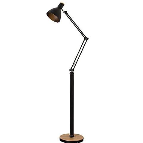 LED-Stehlampe, verstellbarer Lichtwinkel, einfacher Massivholz-vertikale Tischlampe, schwarz-weißes Wohnzimmer Kreative Fischen-Klavier-Lampe ( Farbe : Schwarz )