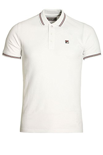 "FILA VINTAGE Matcho Polo Shirt | White Large 40"" Chest"