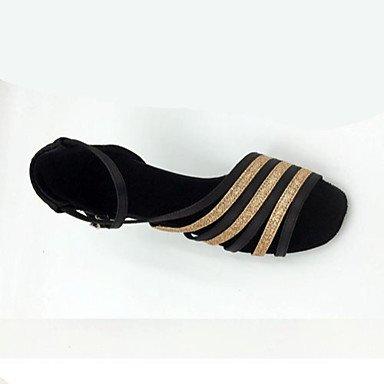 Scarpe da ballo-Personalizzabile-Da donna-Balli latino-americani-A stiletto-Raso-Nero Black